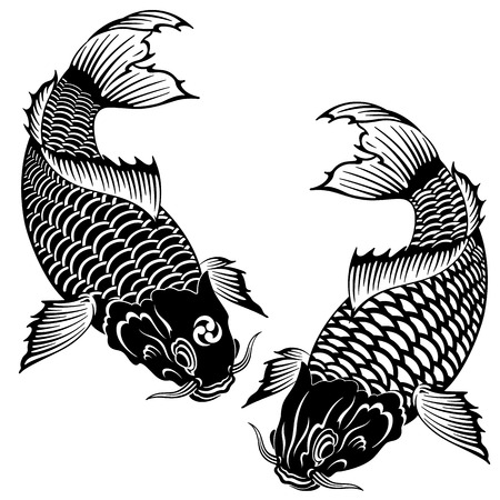 Japanese style carp, I drew a carp in the technique of the Japanese painting, Ilustração