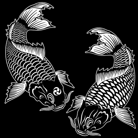 Japanese style carp, I drew a carp in the technique of the Japanese painting, Illustration