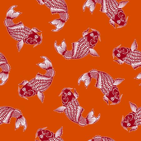日本の伝統的な絵画の技法で鯉を描いた日本式鯉の模様、この絵は繰り返し続け、