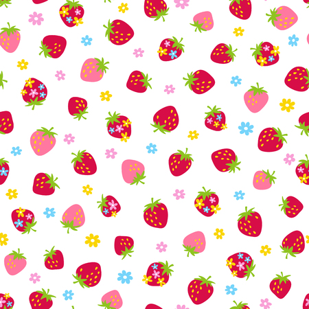Strawberry seamless pattern in white background.