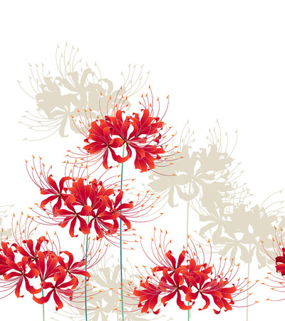 Japanese style cluster amaryllis pattern, Design of a Japanese style cluster amaryllis, It is used for a kimono
