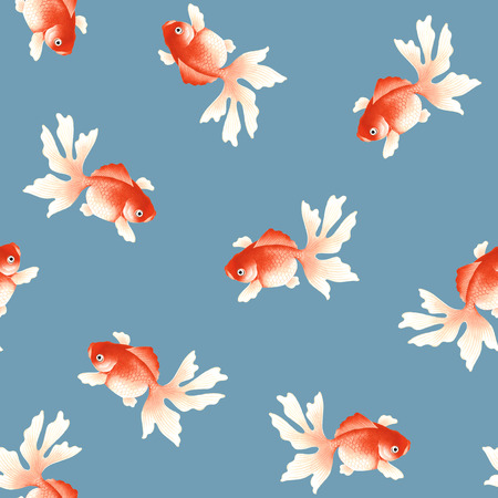Japanese style fish pattern, I drew a Japanese style fish in a freehand drawing, It repeats itself seamlessly, Banco de Imagens