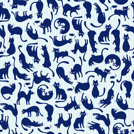 Seamless cats patternbon blue background vector illustration