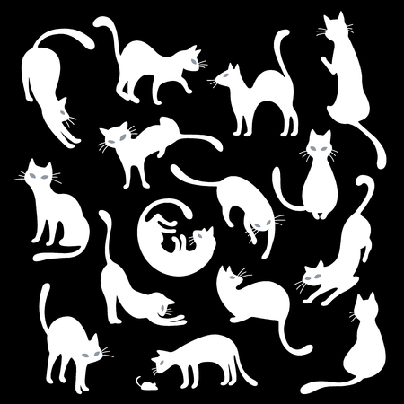 Cats  seamless pattern on black background. Vector illustration. Vettoriali