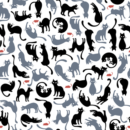 Cats silhouette seamless pattern on white background. Vector illustration.