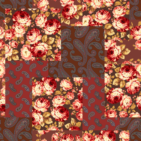 Patchwork of flowers and paisley, seamless background vector illustration. 矢量图像