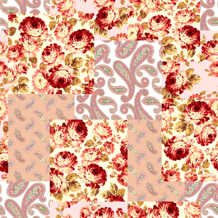 Patchwork of flowers and paisley, seamless background vector illustration. Illustration