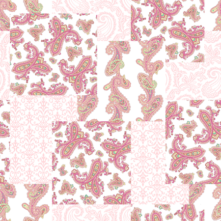 Paisley patchwork pattern, Paisley design pattern, This painting continues repeatedly It is a vector work,