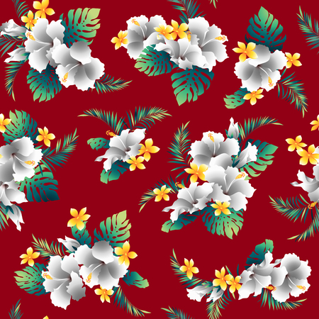 Hibiscus flower pattern, I drew Hibiscus for designing it, This painting continues repeatedly, It is a vector work.