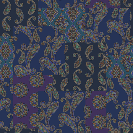 Paisley patchwork pattern background vector illustration.