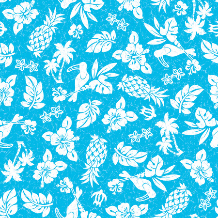 Hibiscus and pineapple pattern Vector illustration.