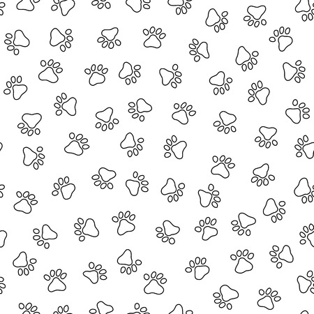 Linear illustration of an animal footprint in a seamless pattern on a white background