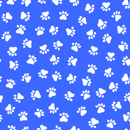 White footprint seamless pattern of an animal, in a blue background