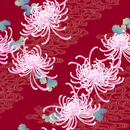 Japanese style chrysanthemum pattern Design Ilustração