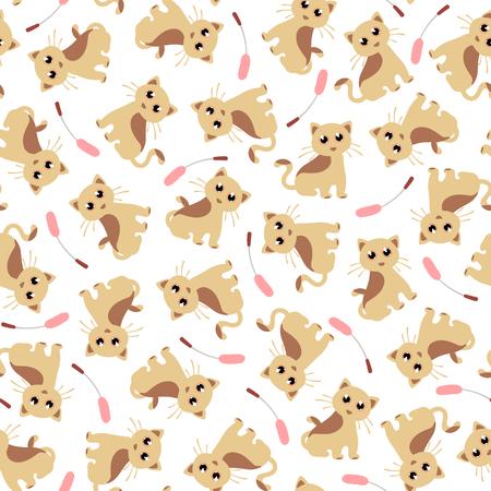 Pretty cat pattern, seamless pattern.