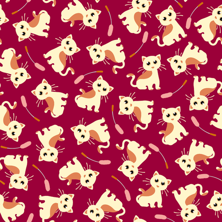 Pretty cat pattern, I made the illustration of a pretty kitten, I continue seamlessly, Ilustração