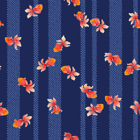A Japanese style fish pattern, I drew a Japanese style fish in a freehand drawing, It repeats itself seamlessly,  イラスト・ベクター素材