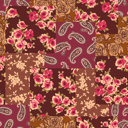 Patchwork of a flower and the paisley. Seamless pattern vector illustration Illustration