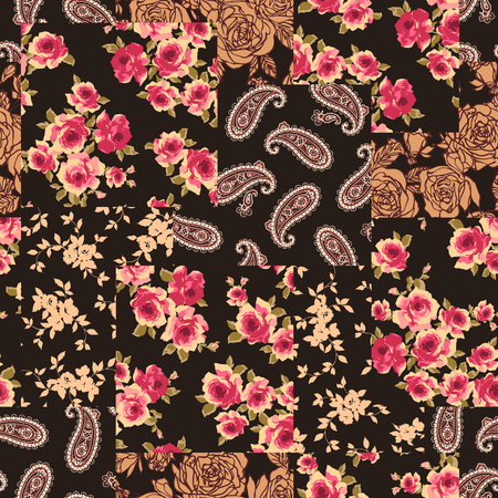 Patchwork of a flower and the paisley Seamless pattern vector illustration Illustration