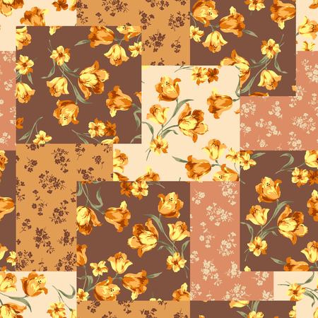 Seamless flower patchwork pattern.