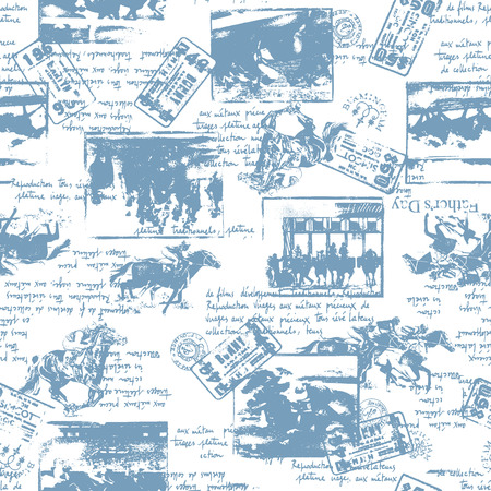 Seamless pattern under the theme of horse racing.
