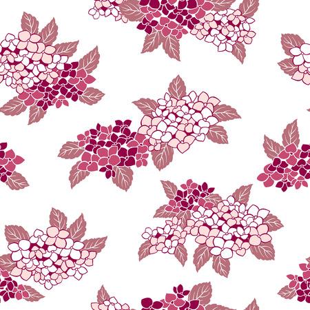 Japanese style hydrangea pattern, Design of a Japanese style hydrangea, This painting continues repeatedly,
