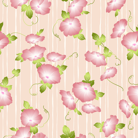Japanese style morning glory pattern, Design of a Japanese style morning glory, This painting continues repeatedly, 일러스트