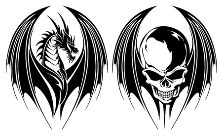 Illustratie van een draak en de schedel, ik maakte een illustratie met een draak en een schedel,