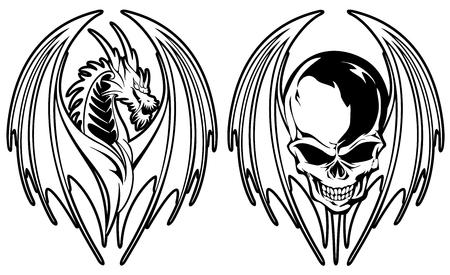 Illustratie van een draak en de schedel, ik maakte een illustratie met een draak en een schedel, Stockfoto - 99946489