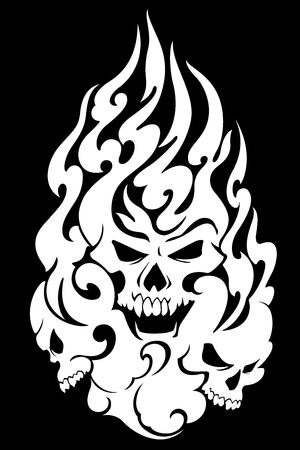 The skull and fire illustration, I designed the skull and fire It is a vector work 일러스트