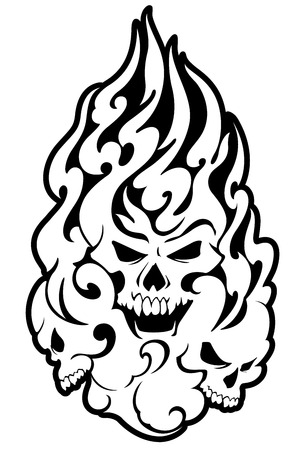 The skull and fire illustration, I designed the skull and fire It is a vector work Illustration