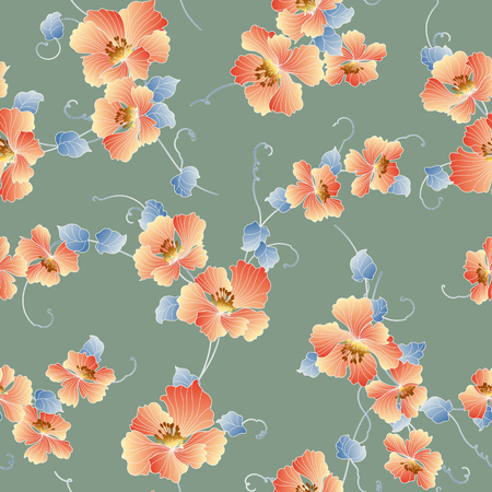 Japanese style flower pattern Design of a Japanese style flower This painting continues repeatedly, 向量圖像