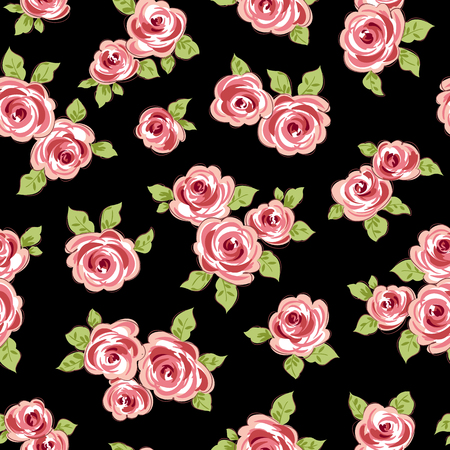 Colored flowers with leaves on black background. Seamless pattern Vector illustration.