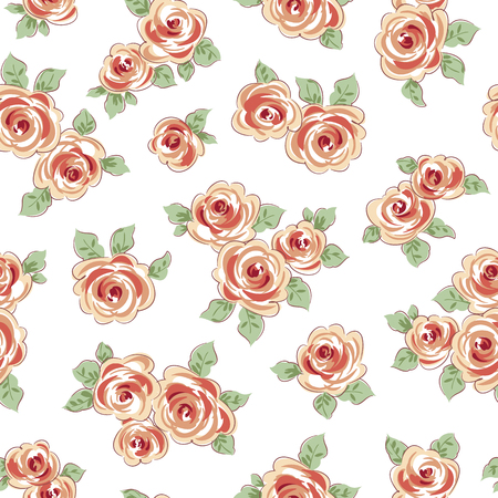 Colored flowers with leaves seamless pattern on white background. Vector illustration. Illustration