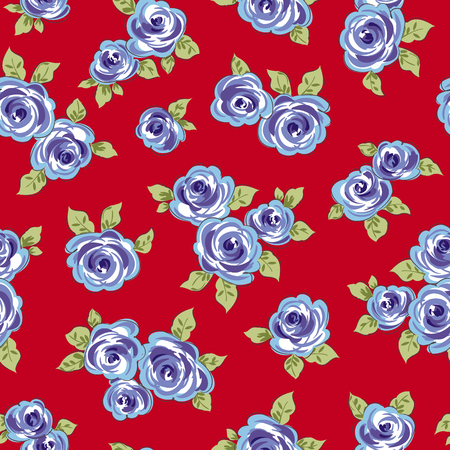 Colored flowers with leaves on red background. Seamless pattern Vector illustration.