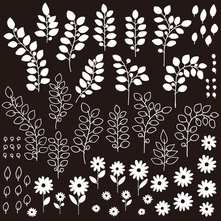 Flowers and leaves black and white set Vector illustration.