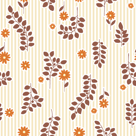 Seamless pattern of flowers and leaves. Background vector illustration.