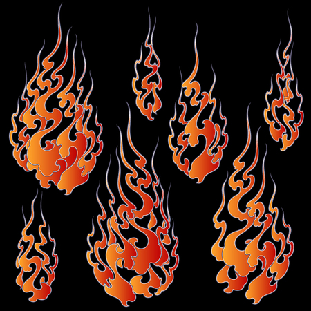 Japanese style flame illustration, I drew a flame abstractly,