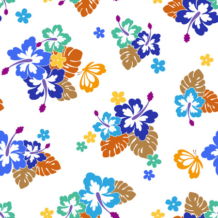 Hibiscus flower pattern I drew Hibiscus for designing it, This painting continues repeatedly,
