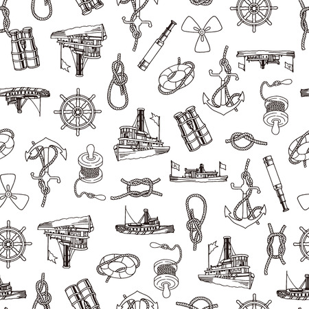 Ship pattern illustration, Illustration of an old ship image, It repeats itself seamlessly