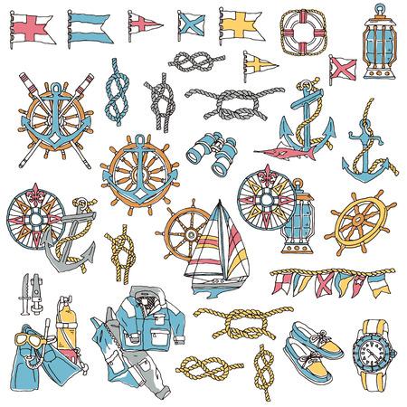 Yacht image illustration, I drew an illustration in yacht noy Madge,  イラスト・ベクター素材