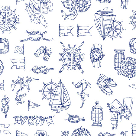 Yacht image pattern, I drew an illustration in yacht noy Madge, It repeats itself seamlessly