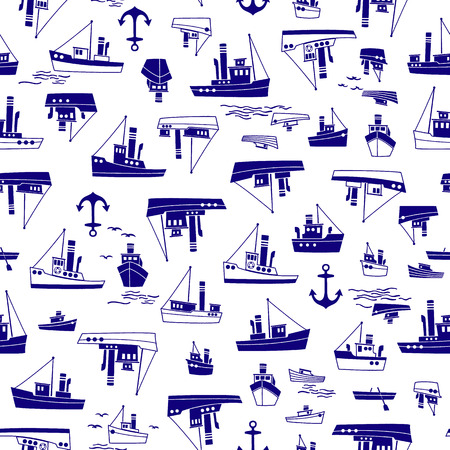 Ship pattern illustration Image illustration of a working ship, It repeats itself seamlessly 向量圖像
