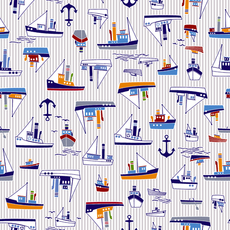 Ship pattern illustration Image illustration of a working ship, It repeats itself seamlessly Illusztráció