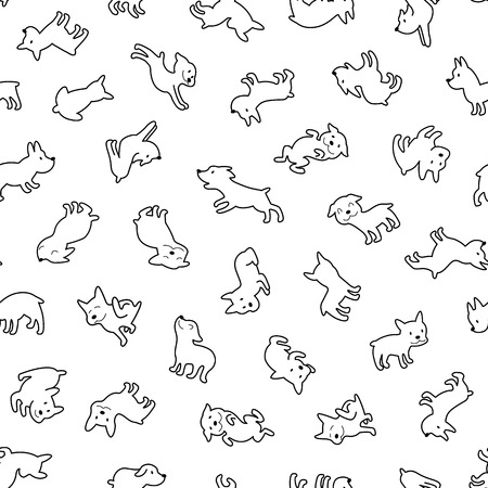 Dog illustration pattern, I made the illustration of a pretty dog I continue seamlessly