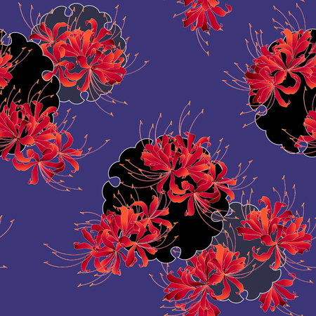 Japanese style cluster amaryllis pattern, Design of a Japanese style cluster amaryllis, It is used for a kimono This paint ING continues repeatedly
