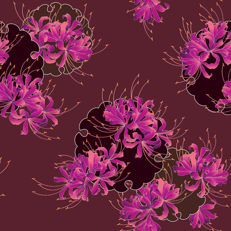 Japanese style cluster amaryllis pattern, Design of a Japanese style cluster amaryllis, It is used for a kimono This paint ING continues repeatedly Banco de Imagens - 102882399