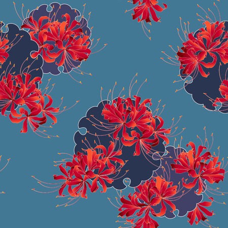 Japanese style cluster amaryllis pattern, Design of a Japanese style cluster amaryllis, It is used for a kimono This paint ING continues repeatedly Banco de Imagens - 102882400