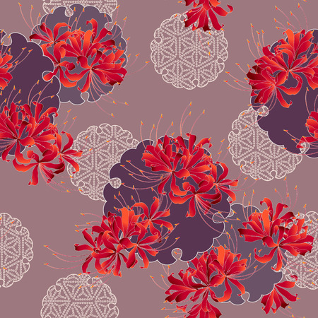 Japanese style cluster amaryllis pattern, Design of a Japanese style cluster amaryllis, It is used for a kimono This paint ING continues repeatedly Banco de Imagens - 102882401