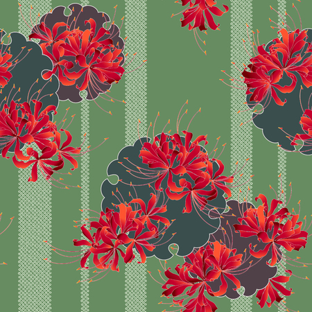 Japanese style cluster amaryllis pattern, Design of a Japanese style cluster amaryllis, It is used for a kimono This paint ING continues repeatedly Banco de Imagens - 102882402